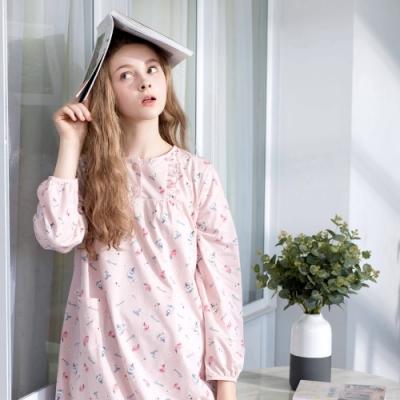 RoseMaid羅絲美-香水情緣半開釦長袖洋裝睡衣(淡蜜粉)