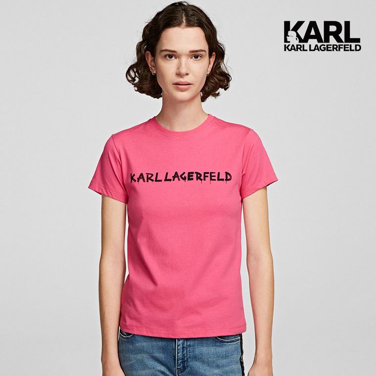 【KARL LAGERFELD】塗鴉LOGOT恤-桃紅 (原廠公司貨)