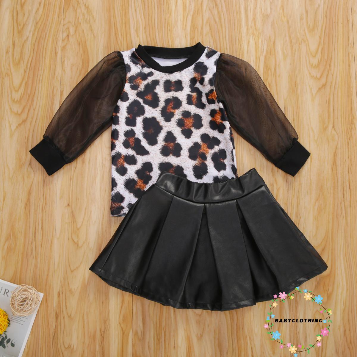 ღWSVღGirls Skirt兩件套時尚豹紋網紗蓬蓬袖上衣和A線皮革半身裙套裝女新款