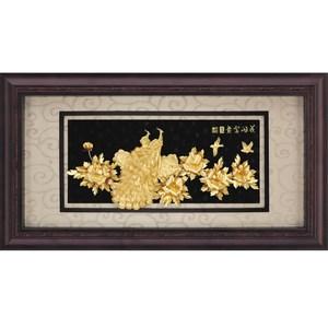 純金*盛景系列*牡丹孔雀【花開富貴】...133x69cm外徑:133x69cm