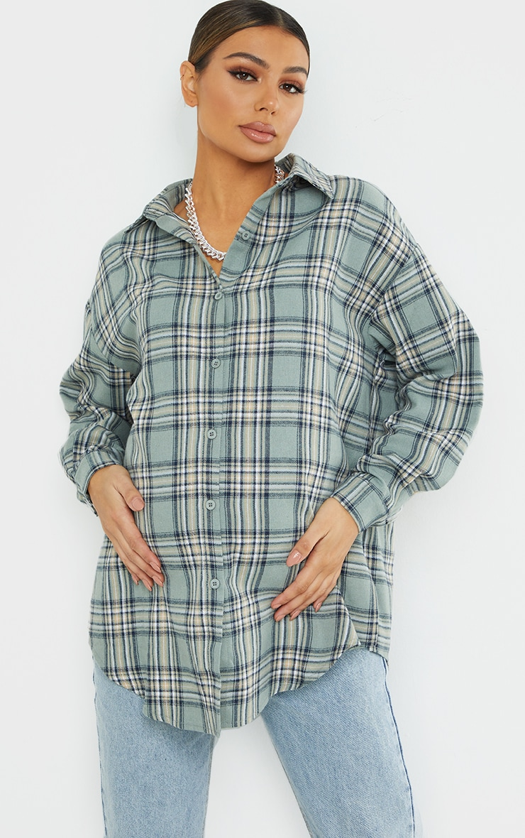 Maternity Khaki Checked Oversized Shirt