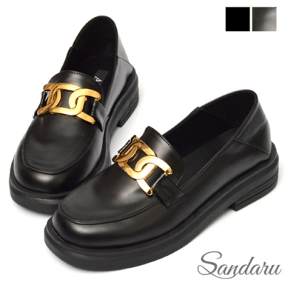 山打努SANDARU-小皮鞋 可後踩大金飾厚底紳士鞋-黑