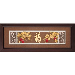 金箔畫 純金 *古典中國風系列*【五福臨門】...102x38cm外徑102x38cm