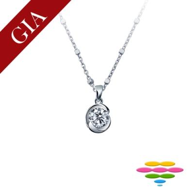 彩糖 GIA 30分 E/VS2 鑽石  3EX+八心八箭車工 玫瑰花鑽石項鍊