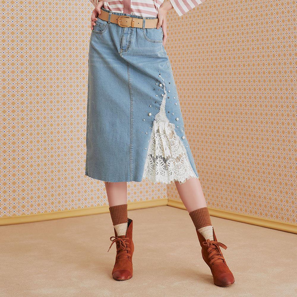 OUWEY歐薇 珍珠蕾絲拼接彈性牛仔裙(藍)J56248