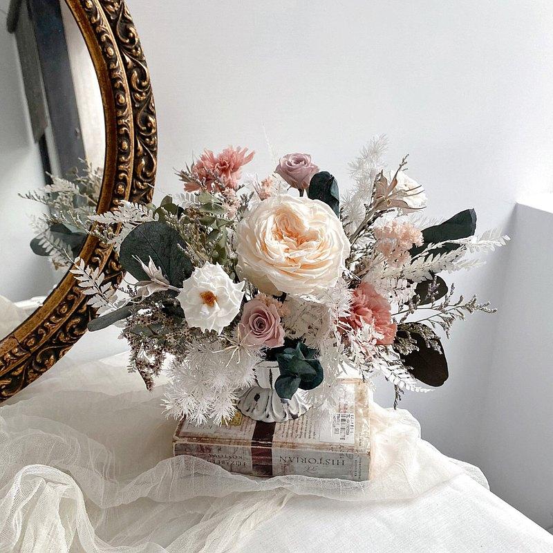2021經典情人永生盆花(裸膚色) 乾燥玫瑰色系 情人節禮物 節日花禮 桌花 永生花