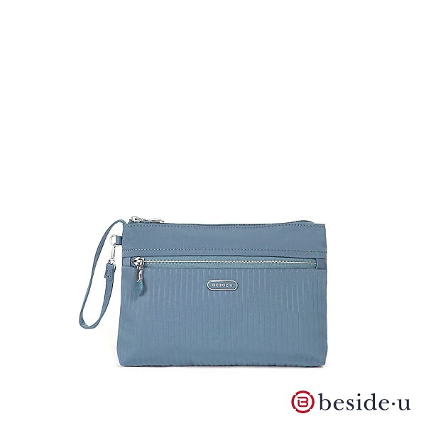 BESIDE U 官方直營 BERS 質感壓印線條化妝包手拿包 - 藍色