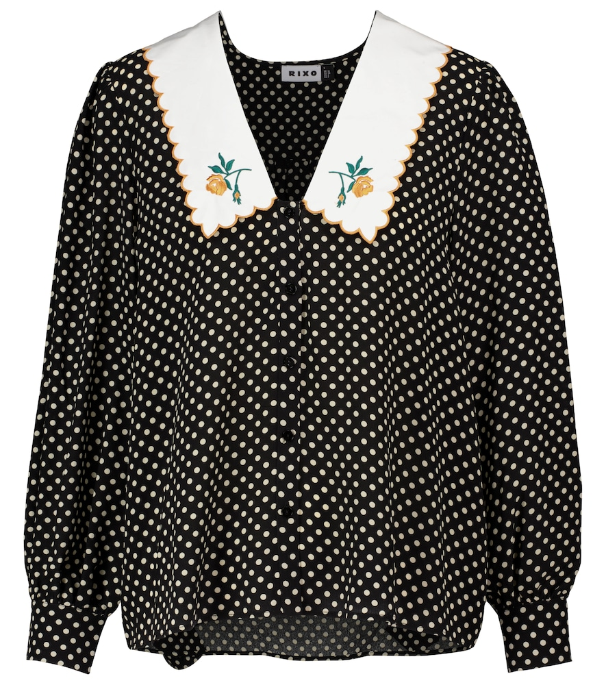 Lila polka-dot silk blouse