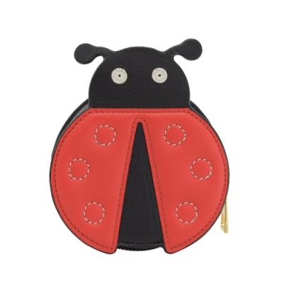 LOEWE 立體瓢蟲造型拉鍊零錢包(黑/紅)