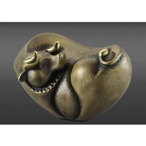 【富貴福牛—昂揚】扭轉乾坤 牛銅雕長17.5*寬12*高11.3cm