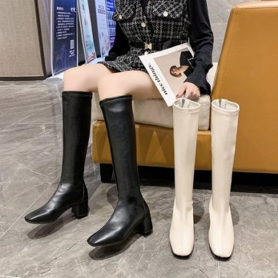 長靴 不過膝長靴秋冬新款高跟彈力靴瘦瘦靴米白色長筒靴高筒女靴騎士靴 歐歐