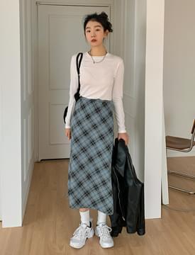 韓國空運 - Plaid Slim Flare Long Skirt 裙子