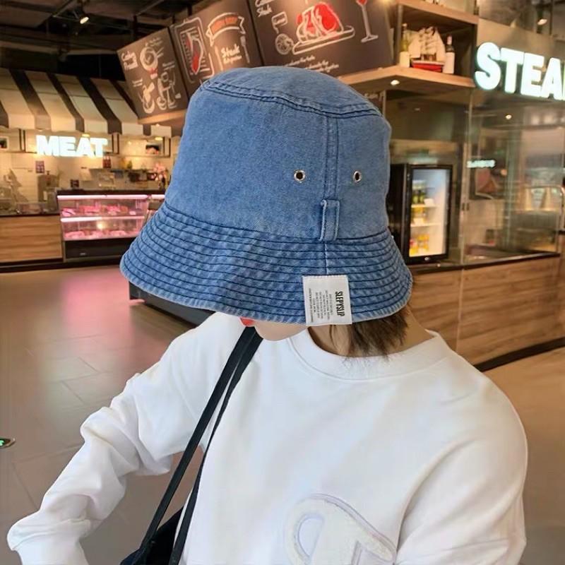 [MUSI創意玩星球] 水洗牛仔做舊漁夫帽子女韓版百搭時尚遮陽帽日系休閒學生盆帽子男