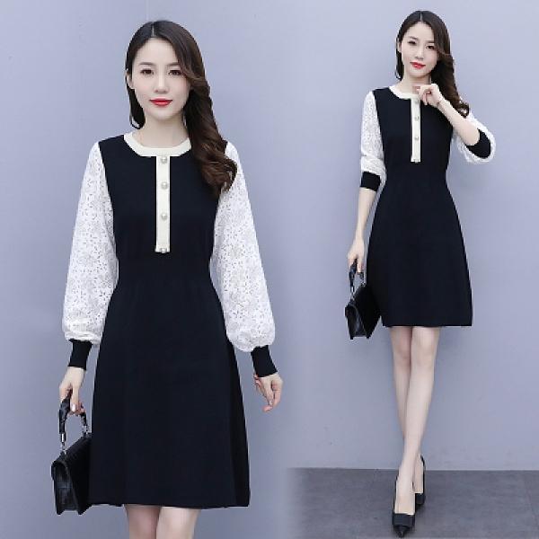 洋裝L-5XL大尺碼連身裙春裝胖妹妹洋氣減齡針織連身裙M027韓衣裳
