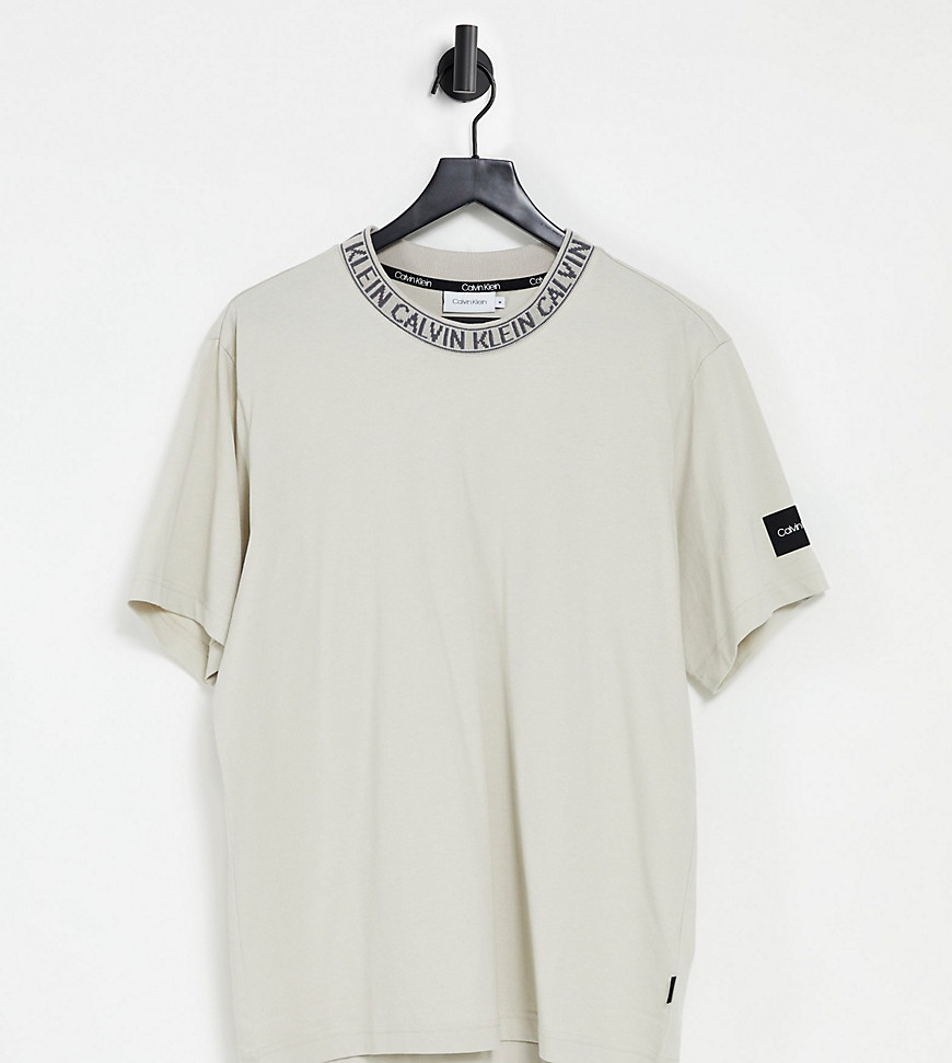 Calvin Klein exclusive to Asos neck logo relaxed fit t-shirt in stone