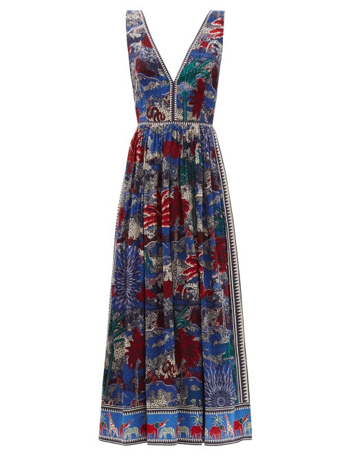 Le Sirenuse, Positano - Sophia Burning Sun-print Cotton Midi Dress - Womens - Blue Print