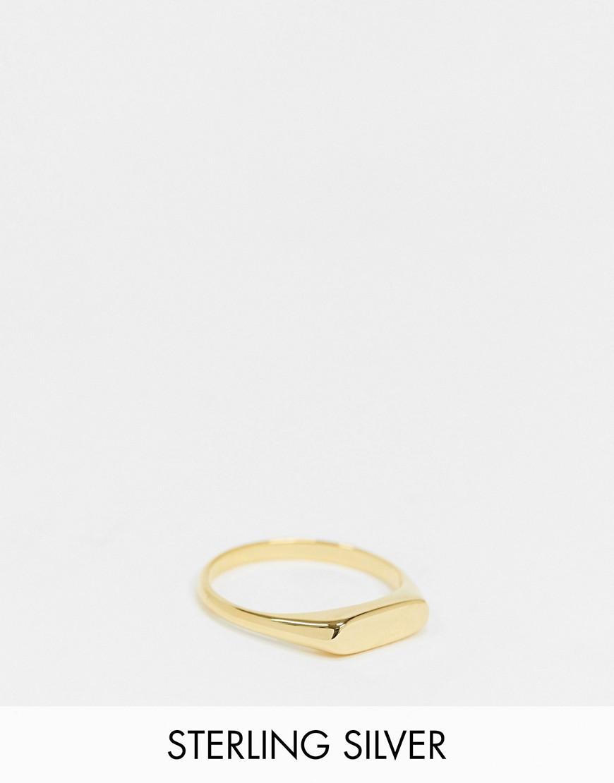 ASOS DESIGN signet ring with minimal design in 14k gold plate