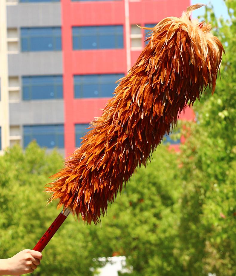 雞毛撣子 雞毛禪子家用純手工除塵真雞毛撣子不掉毛車用掃灰可伸縮清潔毯子『J10369』