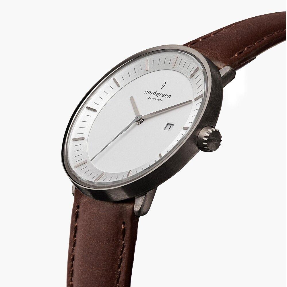 Nordgreen Philosopher哲學家 深空灰系列深棕真皮腕錶40mm(PH40GMLEDBXX)|618年中狂歡↘搶券再折$120