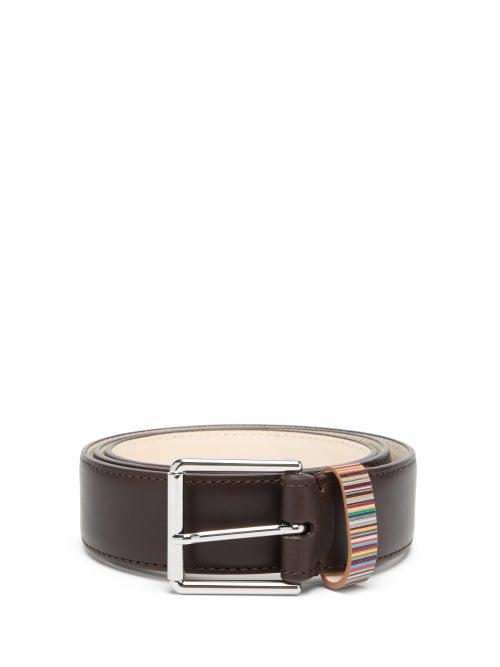 Paul Smith - Signature Stripe Leather Belt - Mens - Brown Multi