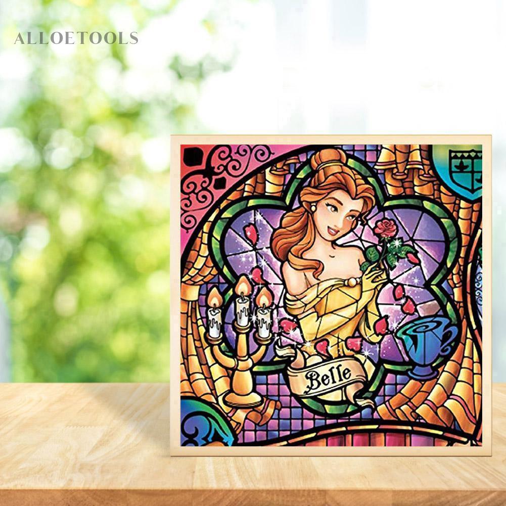 Alloetool5D Diy 全鑽鑽石畫白雪公主十字繡馬賽克套件裝飾