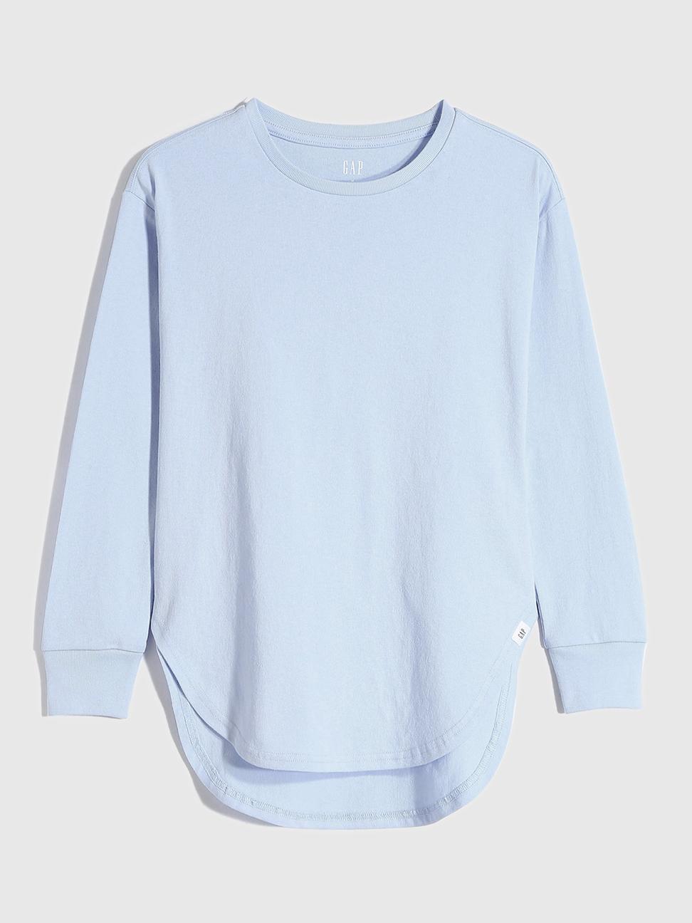 女童 棉質舒適亮色圓領長袖T恤