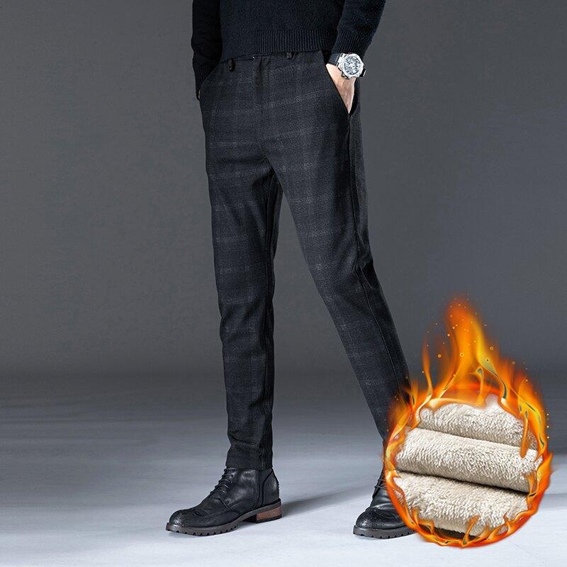 刷毛西褲男 秋季褲子男正韓潮流修身男士休閒褲男冬季刷毛加厚長褲小腳西褲男【MJ7877】