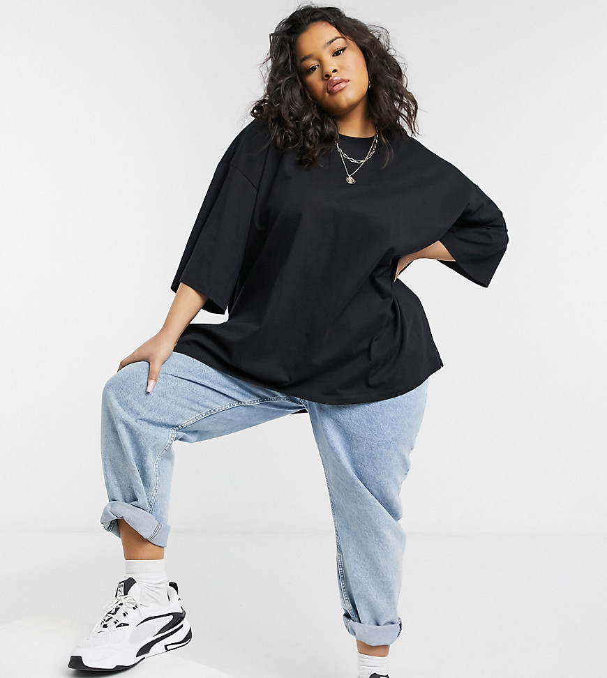 ASOS DESIGN Curve super oversized t-shirt with side splits in black