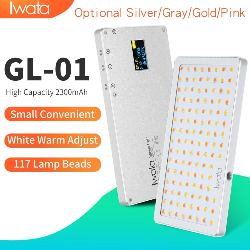岩田117 LED補光燈CRI超自然光3000K-5500K超薄便攜式手機視頻燈鋁調光攝影