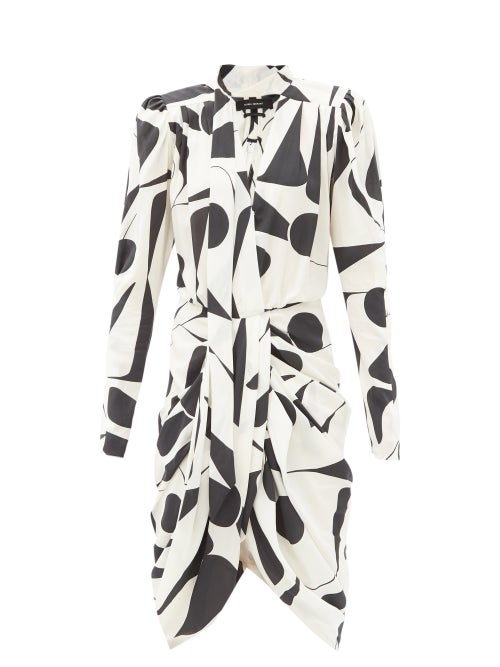 Isabel Marant - Atoae Geometric-print Silk-blend Midi Dress - Womens - White Black