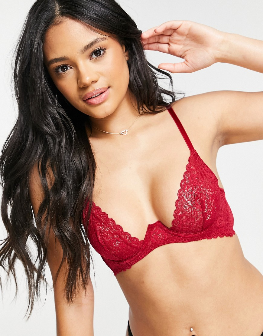 Coco De Mer Muse Marilyn stretch lace exposed wire plunge bra in red