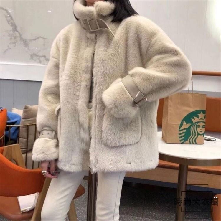 【新年活動】短款羊羔毛外套韓版寬鬆立領羊羔絨夾克大衣女