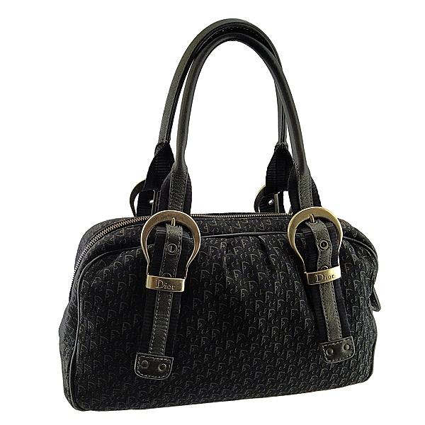 【奢華時尚】DIOR 黑色LOGO緹花刺繡布料霧銀釦手提肩背波士頓包(八五成新)#25024