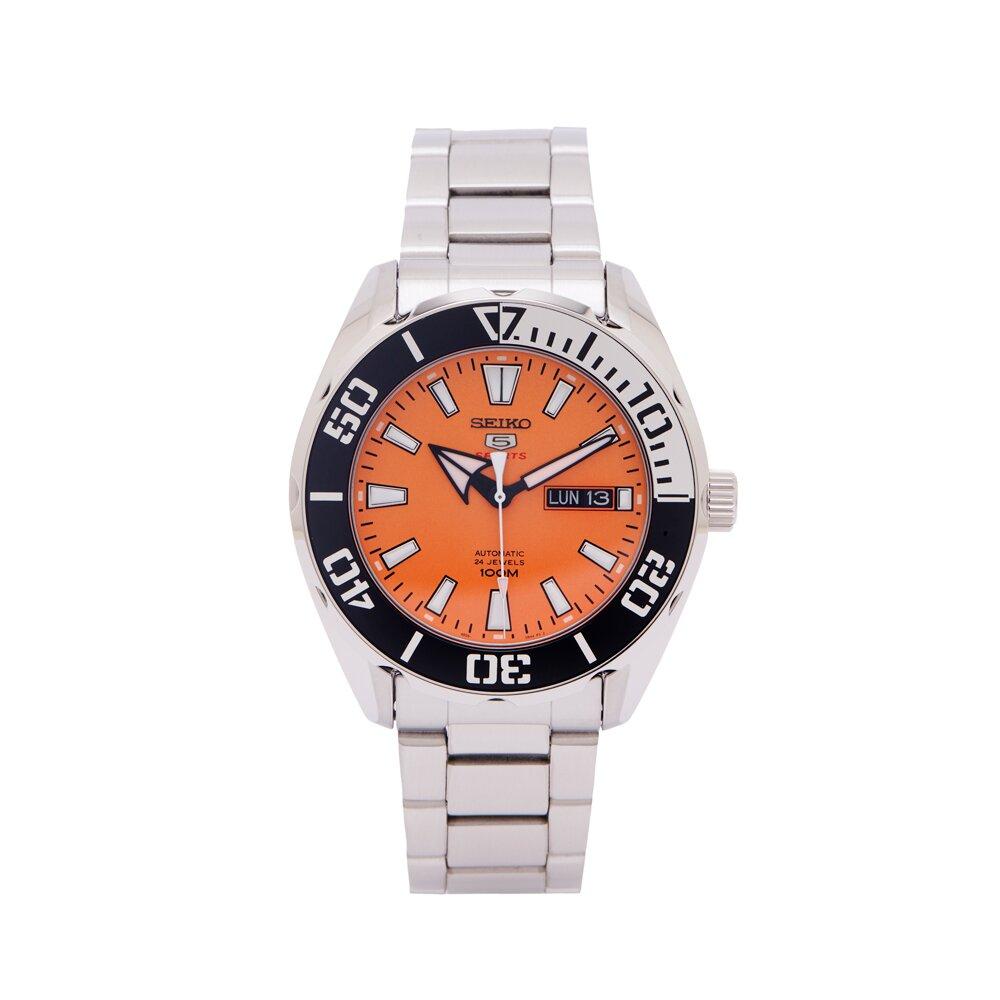 SEIKO 5號機械機芯sport系列不鏽鋼錶帶手錶 (SRPC55K1)-橘面X銀與黑色框/45mm