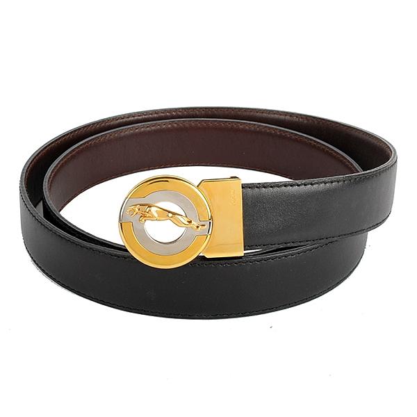 JAGUAR經典雙色美洲豹標誌窄版雙面皮帶(咖啡/黑)450004
