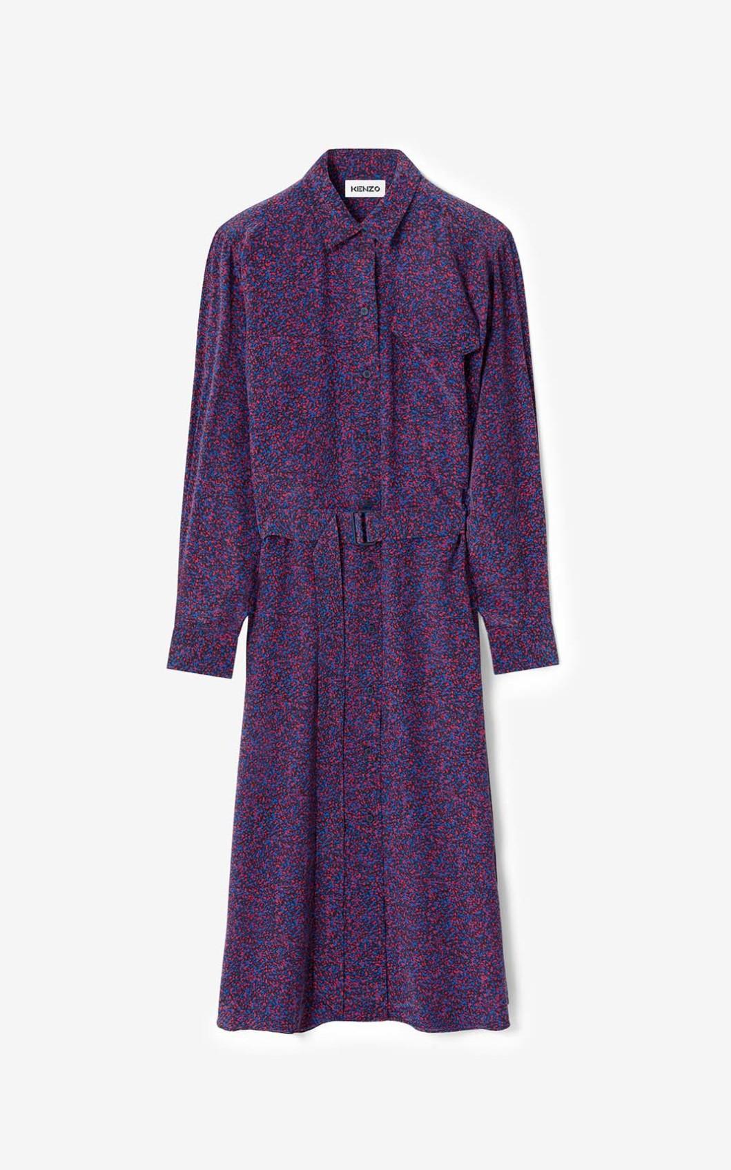 KENZO Robe chemise en soie 'Micro Camo'