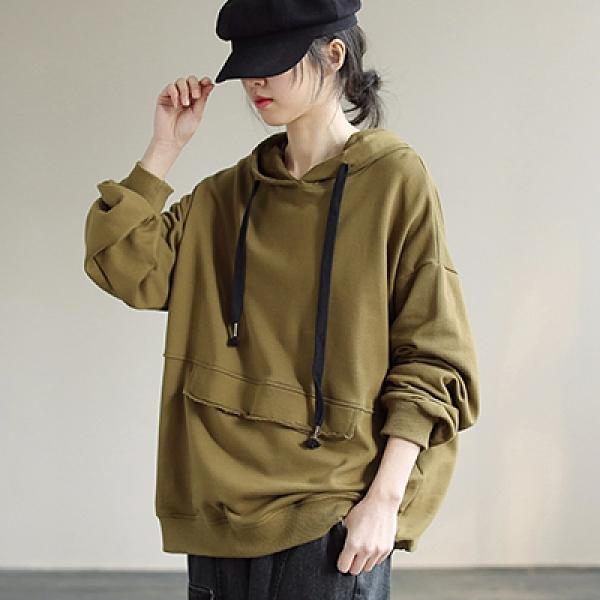 純棉連帽抽繩衛衣 純色寬鬆長袖套頭上衣/2色-夢想家-0118