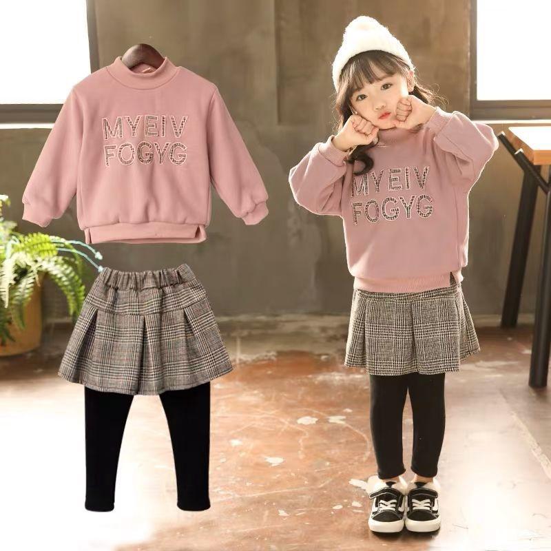 女童衛衣套裝冬裝2020新款加絨加厚兒童洋氣兩件套女寶寶時髦衣服
