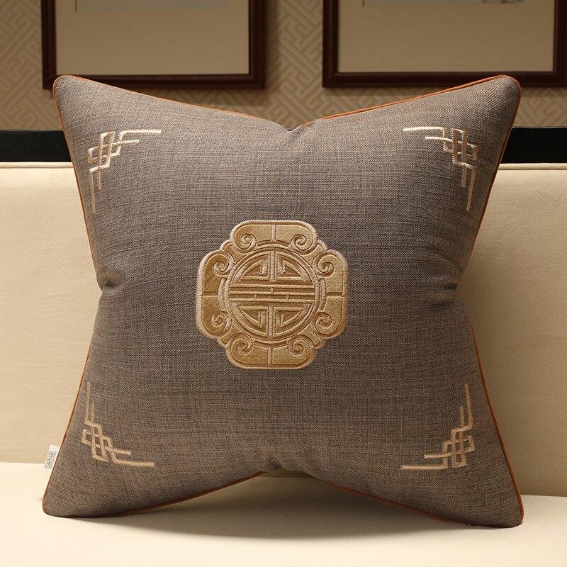 抱枕套 新中式靠墊抱枕套刺繡花客廳沙發床頭靠包古典簡約靠枕辦公室護腰【xy7038】