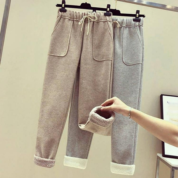 羊羔絨褲 加厚毛呢休閒褲子女2021新款秋冬季直筒羊羔絨奶奶外穿打底闊腿褲 美物