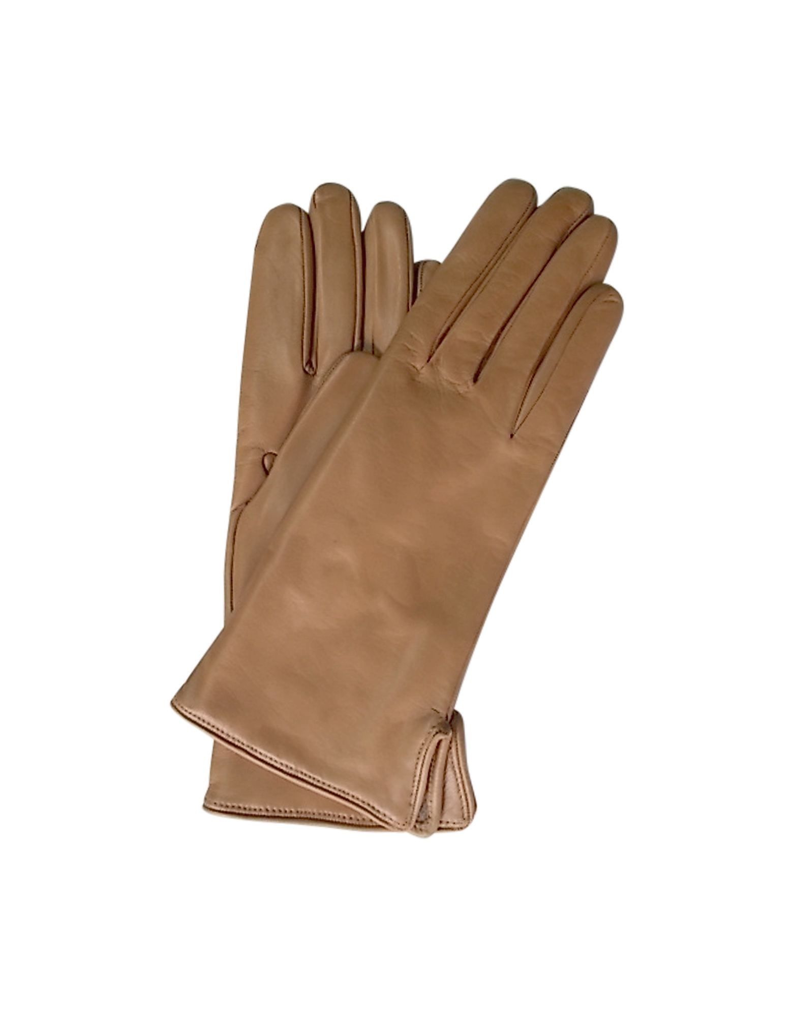 Forzieri 福喜利 女士手套, Camel Leather Women's Gloves w/Cashmere Lining