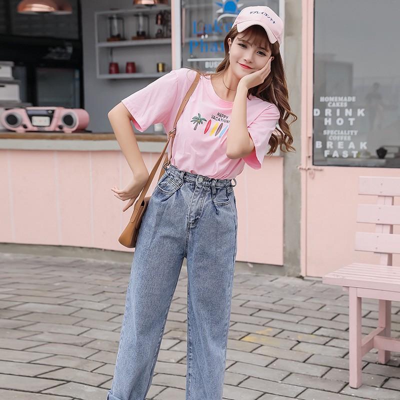 韓版女生長褲 牛仔長褲 高腰彈力顯瘦直筒褲 時尚九分褲 韓妞必備