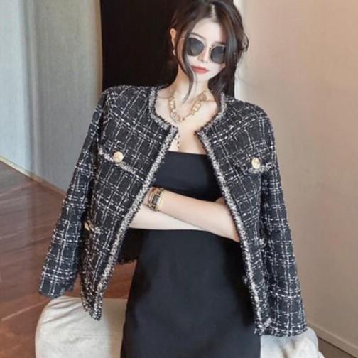 小香風西裝外套 小香風流蘇外套復古格子短款外套 混毛呢外套 台灣現貨 8611
