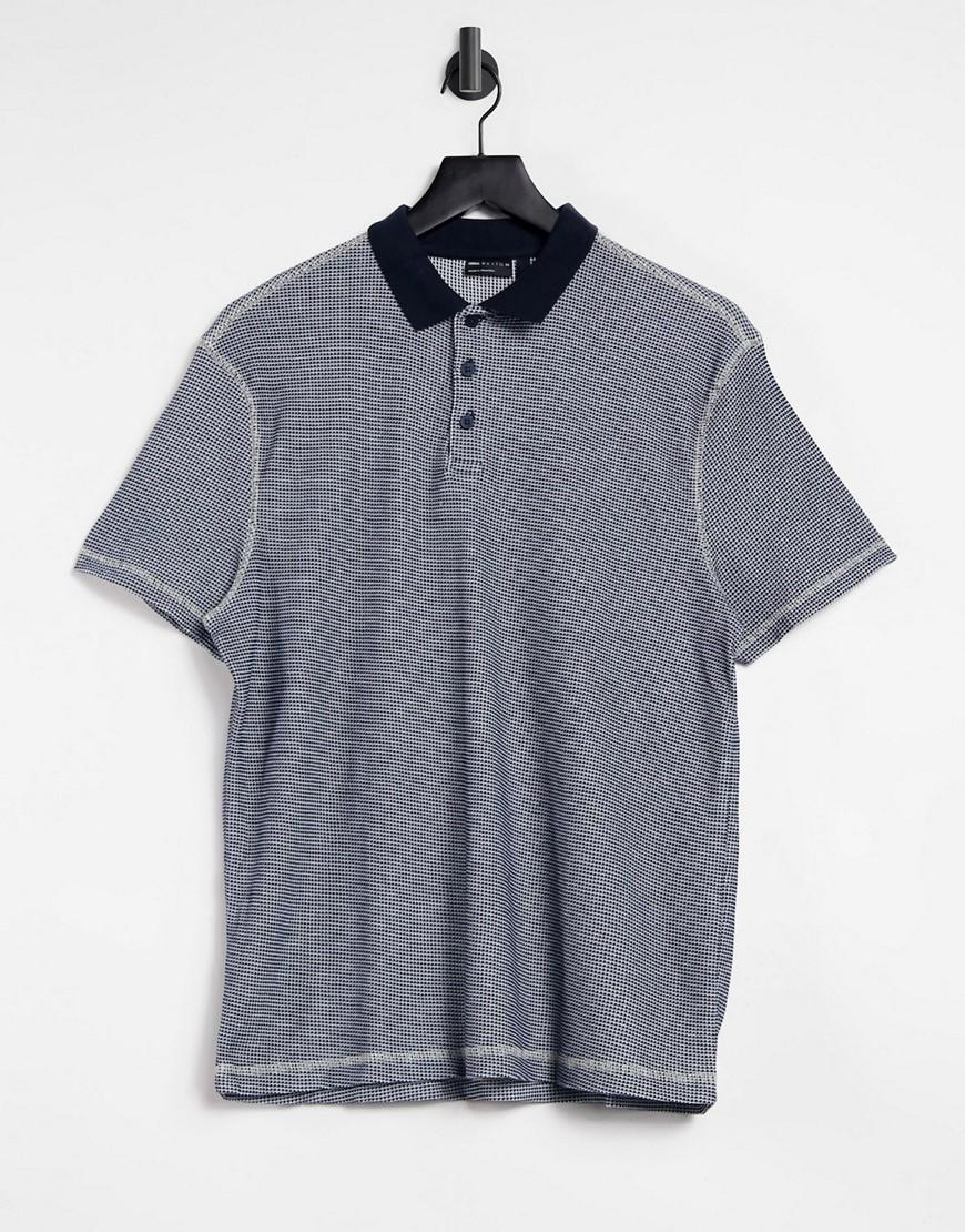ASOS DESIGN organic polo shirt in navy waffle texture