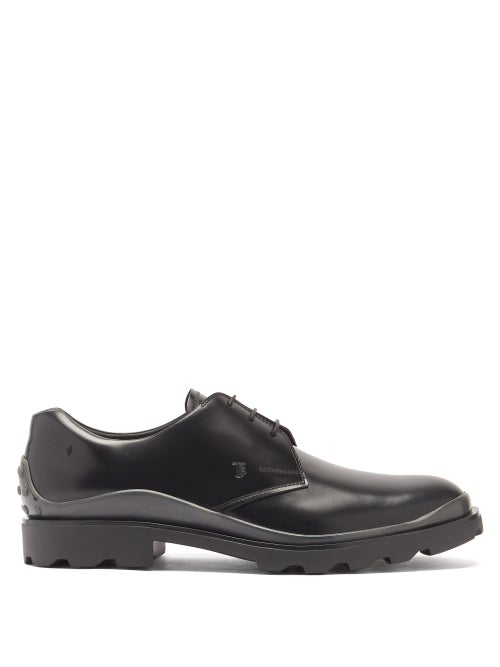 Tod's - Calgary Pebbled Leather Derby Shoes - Mens - Black