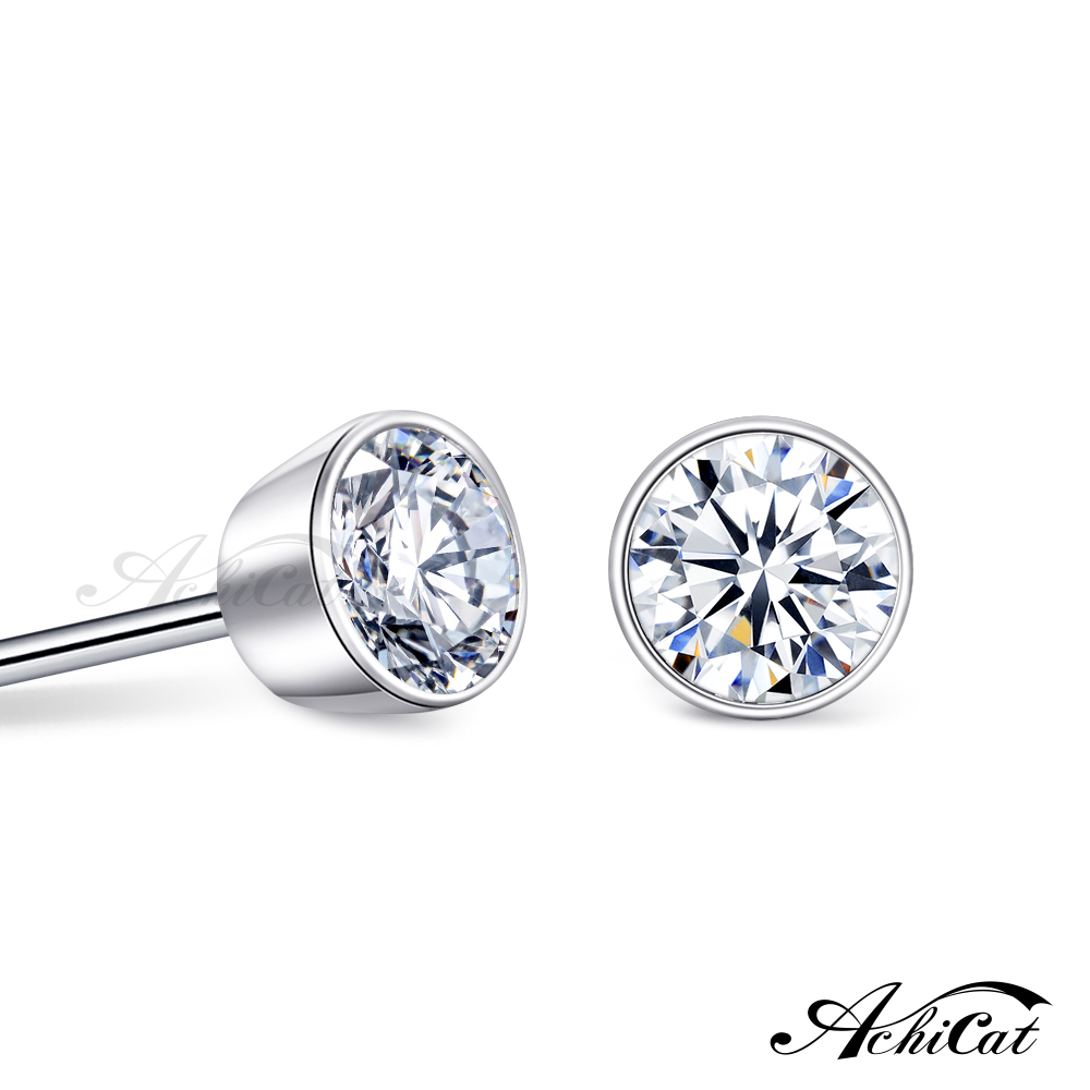 AchiCat 925純銀耳環 簡約幾何 單鑽 圓形耳環 抗過敏耳環 送刻字 一對價格 生日禮物 GS9069
