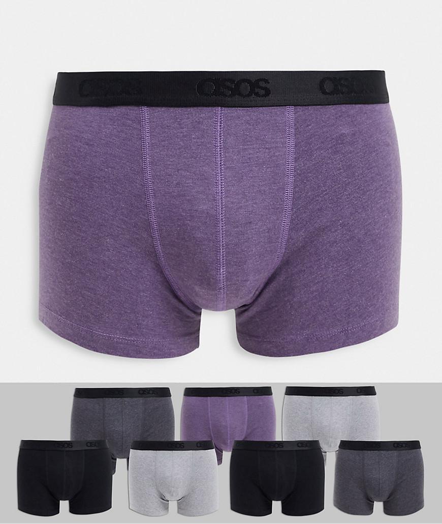 ASOS DESIGN 7 pack trunks with branded waistband-Multi