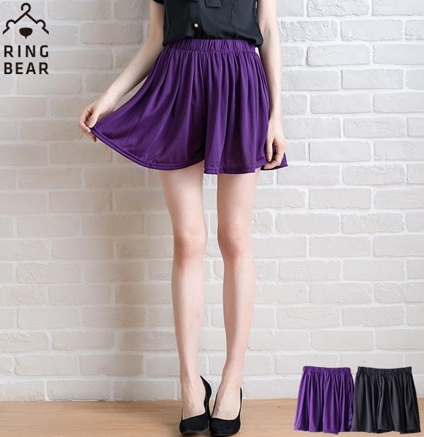 中大尺碼--休閒輕盈柔感俏麗百搭款素面鬆緊抓皺百褶寬鬆褲裙(黑.紫M-2L)-R143眼圈熊中大尺碼