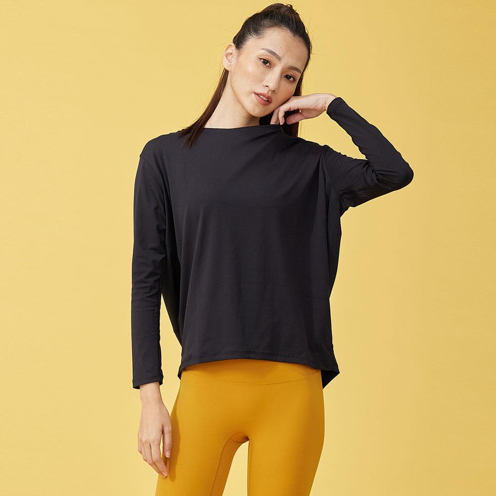 長袖雙面柔感運動罩衫-Black