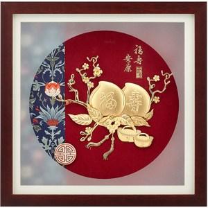 純金典雅金箔畫系列~【福壽安康】....30 x30 cm外徑 30 x 30 cm
